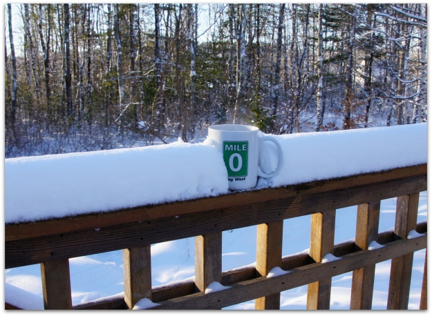 coffee in snow